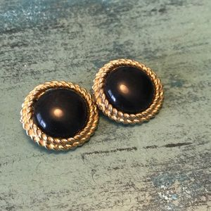 Gold and black vintage clip earrings